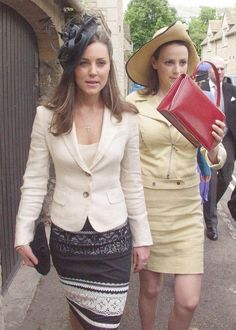 (L) Kate Middleton at the wedding of Hugh Van Cutsem and Rose Astor in Burford, 4 June 2005
