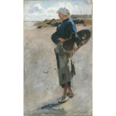 """""""Breton Girl with a Basket,"""" Sketch for """"Oyster Gatherers of Cancale,"""" John Singer Sargent, 1877, oil on canvas, 19 x 11 1/2"""", Terra Foundation for American Art."""