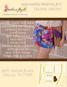 Ashard Richley trunk show and meet & greet at Melanie Gayle this Wednesday, May 14