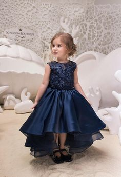 Please read our store policies before placing your order here https://www.etsy.com/ru/shop/Butterflydressua/policy Beautiful Navy Blue High Low Satin flower girl dress with multilayered skirt, corset with tulle, lacing, and buttons. Item material: upper layer of the skirt- satin