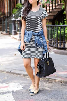 Stripes + Espadrilles - Joie dress // J.Crew jacket // YSL bag Chanel espadrilles // Michael Kors watch Wednesday, June 17, 2015