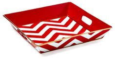 "12"" Square Chevron Tray, Red"