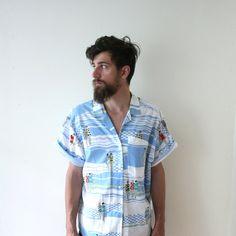 Vintage 80s does 20s Summertime Beach Shirt. $28.00, via Etsy. #grandmamarie #vintage #style #fashion #shops #shopping #mens #menswear #summer