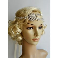 Gorgeous 1920'S Rhinestone Flapper Headband ($62) ❤ liked on Polyvore featuring accessories, hair accessories, headbands & turbans, white, vintage bridal hair accessories, 1920s flapper headband, bridal headbands, turban headband and bridal ribbon headband
