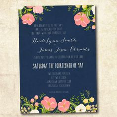 Coral and Navy Wedding invitation printed or by DesignByChristine, $25.00