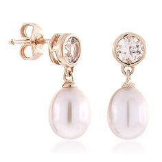 Pink freshwater cultured pearls dangle gracefully from bezel-set morganite stud earrings in 14K rose gold.  <br>The pastel pink sparkle of morganite plays off of the subtle lustre of pearls for an elegance that is truly eye-catching.