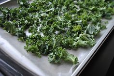 A foolproof way to make kale chips via @just eat real food: Heat your oven up to 425F, get the kale ready (washed, shreddded, spun, coated with fat & salted or seasoned) then the minute you put the kale into the oven turn the oven OFF.   Let the kale sit in the oven for 15-20 minutes. Result: perfect evenly cooked crisp kale chips. Nothing burned.