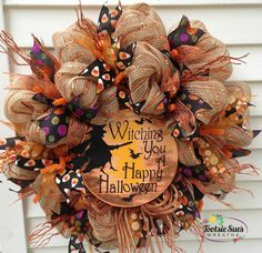 Happy Halloween burlap and Deco mesh wreath. Halloween Mesh Wreaths, Christmas Mesh Wreaths, Holiday Wreaths, Halloween Crafts, Halloween Decorations, Happy Halloween, Burlap Halloween, Winter Wreaths, Halloween Door