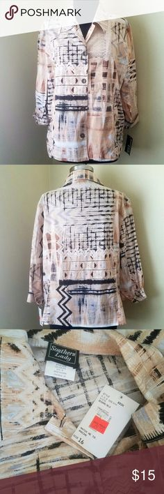 "Cream, Tan and Black Abstract Print Jacket, 16 Beige, tan and black abstract pattern, lightweight, fitted, 3/4 sleeve jacket with front hip pockets.   44"" bust, 26"" length.   Size 16 by Southern Lady. Southern Lady Jackets & Coats"