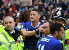 Gary Cahill of Chelsea celebrates scoring his sides second goal during the Premier League match between Stoke City and Chelsea at Bet365 Stadium on March 18, 2017 in Stoke on Trent, England.