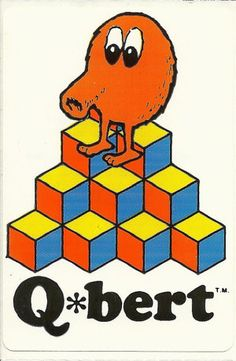 Vintage 80's Qbert Arcade Game Sticker Version by Stuckonstickers