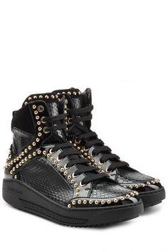 Dsquared2 Dsquared2 High-Top-Sneakers aus geprägtem Leder – Schwarz