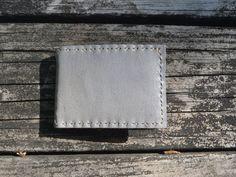 Handmade Grey Leather Basic Wallet w Spring by CSherwoodLeather