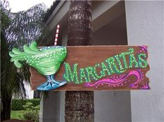 Tropical Margaritas Wood Sign by DreamCreationsArt on Etsy, $39.95