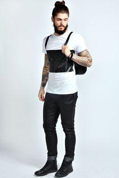 PU Panel T Shirt/blank custom designs tshirt/high fashion men clothing/model