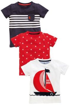62205fe401 Red Navy White Short Sleeve Boat T-Shirts Three Pack RM85 Baby Boys