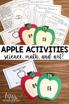 These apple activities for kids are the perfect way to integrate teaching science and math into your lessons this fall! It includes science experiments, class graphs, apple craft, and more! Perfect for preschool, kindergarten, and even for first grade. Your elementary students will love learning all about apples! #apples #fall