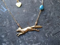 Running Fox Turquoise 14k Gold Filled Chain by studioCjewelry