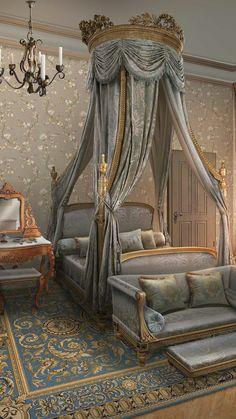 Desire and decorum-bed Royal Bedroom, Dream Bedroom, Home Bedroom, Bedroom Decor, Interior Decorating, Interior Design, Aesthetic Room Decor, Home And Deco, Luxurious Bedrooms