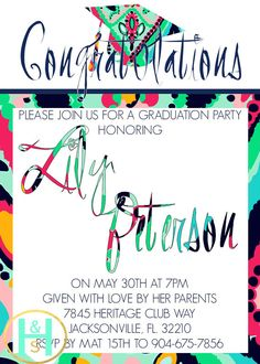 Preppy Graduation Invitation [Lily Pulitzer inspired invite: custom, DIY, printable, PDF, Option for seller to print and ship]