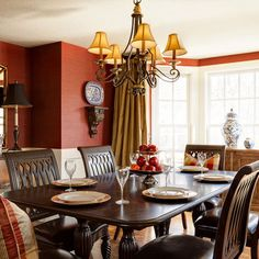 Rust Dining Room Design. Could I live with such a bold color for long...?