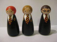 Three Wizards peg doll set. $15.00, via Etsy.