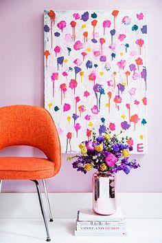 lilac pink interior with burnt orange and violet accents, pantone ultra violet, dark purple, bright purple, violet