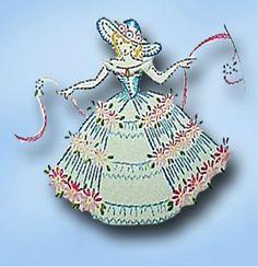 1940s Vintage Garden Girl Pillowcases Uncut Vogart Embroidery Transfer 179 #Vogart #PillowcaseMotifs