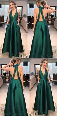 Green Satin V-neck Long A-line Prom Dresses, Simple Elegant