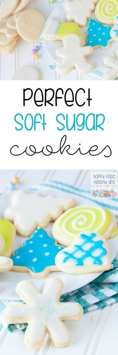 Perfect Soft Sugar Cookies - If you're looking for the best sugar cookie to cut out and decorate, this is the one for you. They stay soft for days and have a better and lighter flavor than most sugar cookies. This is my ultimate favorite! Halloween Desserts, Christmas Desserts, Christmas Treats, Holiday Treats, Soft Sugar Cookies, Sugar Cookies Recipe, Cupcake Cookies, Cut Out Cookies, Soft Sugar Cookie Cut Out Recipe