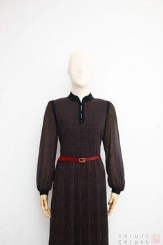 74cb766fde0 Vintage 70s Dress Japanese Vintage Dress Black Polka Dot