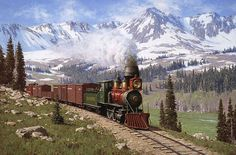 DSP&P Mogul on Freemont Pass by Tucker Smith. The locomotive colours (red boiler and cow catcher and green cab) are the same as the LGB Tucker Smith, Train Illustration, Collections D'objets, Colorado, Canadian Pacific Railway, Railroad History, Trains, Train Art, Train Pictures