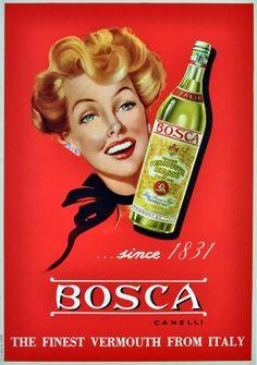 Bosca Canelli, 1950s - original vintage poster listed on AntikBar.co.uk