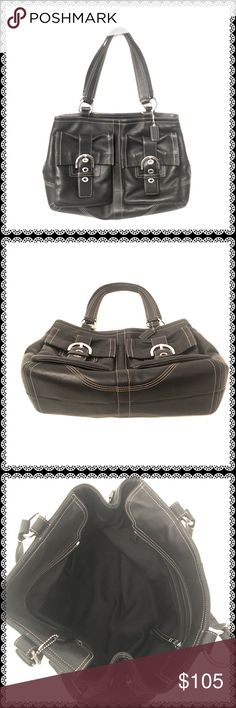 """COACH Black Leather Soho Bag #6468 This is a beautiful bag. Zip away closure. Has a large zipped pocket and three slide pockets inside, two magnetic closure pockets at the front. Few blemishes and edge ink spots are gone on the handle holder. This bag is heavy. Expandable top with button clasp. Approximately measures 9 1/2""""H x 15 1/2""""W x 5""""Depth with 9"""" strap drop. Fits perfectly on shoulder. Coach Bags Shoulder Bags"""