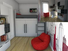 Bunk bed with wardrobe. http://www.colorato.pl/meble-dzieciece-i-mlodziezowe-lozka-pietrowe-color-dream