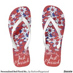52007eb36453 Personalized Red Floral Honeymoon Vibes Flip Flops - Durable Thong Style  Hawaiian Beach Sandals By Talented