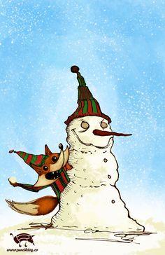 Mischievous Christmas Fox by jmsf-co