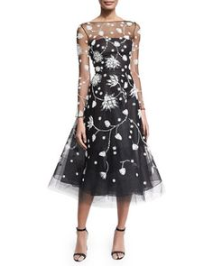 Embroidered Illusion Tulle Midi Dress, Black/White by Oscar de la Renta at Neiman Marcus.
