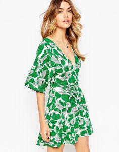 4f3045e976fe0 ASOS Plunge Mini Dress in Floral Print Tie Dress
