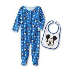 Mickey Mouse Newborn Boys' Footie Pajamas & Bib - Stars - Kmart