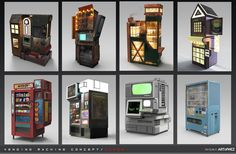 Some Concept Art for ÆNiGMA I've always liked vending machines, they are like sculpture with function. Some here are inspired by real vending. Aenigma - Vending Machine Concept Art 3 - Under Vending Machines For Sale, Coffee Vending Machines, Las Vegas, Prop Design, Display Design, Fun Worksheets, Drag, Machine Design, Preschool Snacks