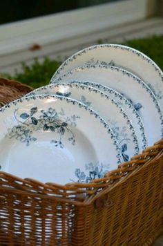 Blue & white dishes, basket.