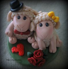 Polymer Clay Sheep Wedding Cake Topper by trinasclaycreations, $95.00