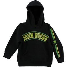 - Black/Green - Officially licensed John Deere kids apparel - Tailored from 80/20 cotton/poly blend for softness and durability - Pullover style hooded sweatshirt with front pocket - Machine washable;