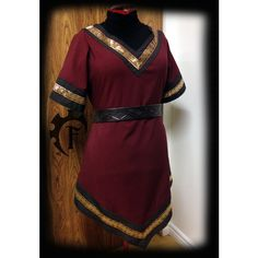 15 Off Customizable Women Viking Tunic Medieval Fantasy Trim Larp... ($135) ❤ liked on Polyvore featuring tops, tunics, purple tunic, purple top, short sleeve tops and short sleeve tunic