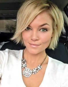 short hair  and statement necklace