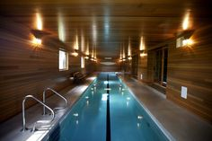 This lap pool was converted from former barn space. Old barns provide ample space and open-concept design, … – pool ideas Small Indoor Pool, Indoor Swimming Pools, Swimming Pool Designs, Outdoor Pool, Indoor Outdoor, Lap Swimming, Lap Pools, Small Pools, Backyard Pools
