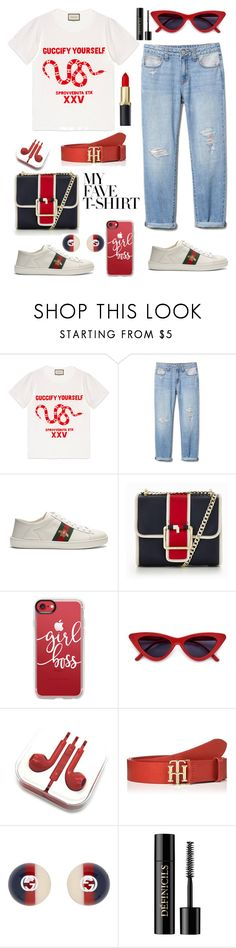 """Senza titolo #6981"" by waikiki24 ❤ liked on Polyvore featuring Gucci, Tommy Hilfiger, Casetify, Lancôme and MyFaveTshirt"