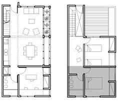 Resultado de imagen para VIVIENDA FLEXIBLE Architecture Plan, Amazing Architecture, House 2, Tiny House, Small Space Living, Living Spaces, Student House, Social Housing, Villa