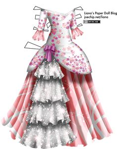 A masquerade gown with a white bodice, patterned all over with clouds of pink and reddish-purple cherry blossoms. The neckline is off the shoulders and slightly V-shaped, and is trimmed with a line of sparkling white sequins. The sleeves are three-quarter, and their edges are trimmed with more white sequins. There are long ruffles attached to the edges of the sleeves, and they are pink and patterned with abstract white swirls. The bodice extends over the top of the skirt and is gathered at…